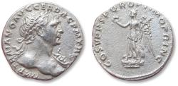 Ancient Coins - AR denarius Trajan, Rome mint 107-108 A.D. - Victory left over Dacian shields -