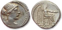 Ancient Coins - AR denarius M. Porcius Cato, Rome 89 B.C -- sharply struck --