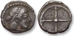 Ancient Coins - Sicily, Syracuse. AR obol - Deinomenid Tyranny - 475-470 B.C.