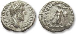 Ancient Coins - AR denarius Commodus, Rome 190-191 A.D. -- BRIT title, APOL PAL Apollo & lyre --