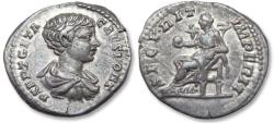 Ancient Coins - AR denarius Geta as Caesar, Rome 202 A.D. -- beautiful coin with great lustre --