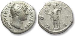 Ancient Coins - AR denarius Hadrian / Hadrianus, Rome 125-128 A.D. - Roma holding little Victory -