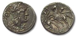 Ancient Coins - AR Denarius, C. Servilius Vatia. Rome 127 B.C. - beauty -