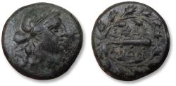 Ancient Coins - Lydia, Sardes mint. 15mm AE unit - variety without monogram within wreath - circa 133 B.C. - 14 A.D.