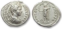 Ancient Coins - AR denarius Caracalla, Rome 199-200 A.D. - SEVERI PI I AVG FIL, emperor with captive -