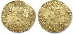 "Ancient Coins - AV/AU Dutch gold florin / gold rider, Duchy of Guelders, Duke ""Karel van Egmond"", Nijmegen 1492-1538"