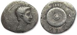 Ancient Coins - AR denarius Octavian / Octavianus, military mint in Spain or N.Italy, 35-34 B.C. - Scarcer type -