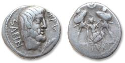 Ancient Coins - AR denarius L. Titurius L.f. Sabinus, Rome 89 B.C -- the death of Tarpeia --