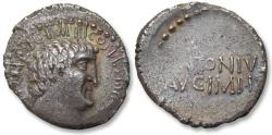 Ancient Coins - AR denarius, Marc Antony / Marcus Antonius. mobile mint (Greece, Athens?) 33-32 B.C. - lovely portrait -