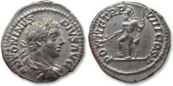 Ancient Coins - AR denarius Caracalla, Rome mint 205 A.D. - PONTIF TR P VIII COS II, Mars standing left -