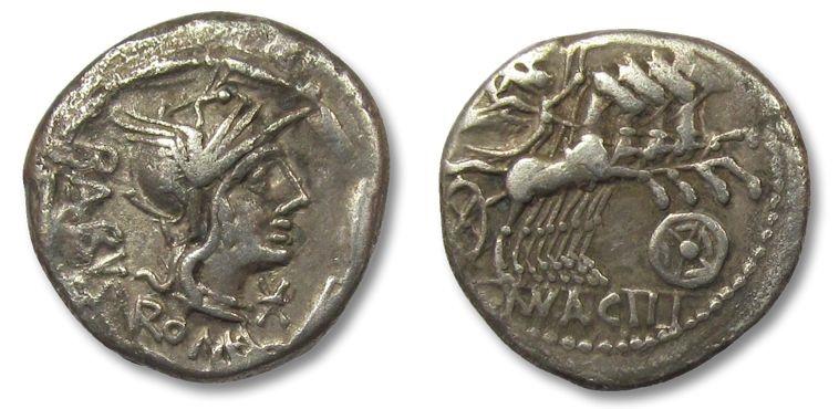 Ancient Coins - HS: AR denarius Mn. Acilius Balbus, Rome 125 B.C.