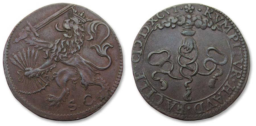 World Coins - Spanish Netherlands AE jeton Dordrecht mint 1596: on the Alliance between England, France & the United Provinces