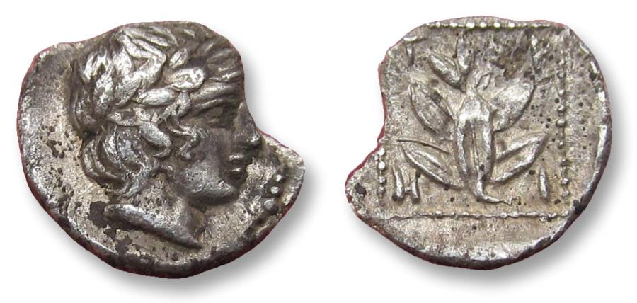 Ancient Coins - THRACE, 9mm AR hemiobol. TRIEROS mint circa 420-380 B.C. - damaged but rare coin + rare variety (head right) -