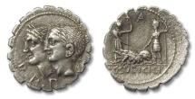 Ancient Coins - AR denarius C. Sulpicius C.f. Galba, Rome 106 B.C.