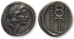 Ancient Coins - AR denarius M. Plaetorius Cestianus, Rome 69 B.C. -- great quality & toning --