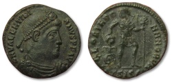 Ancient Coins - MO: AE18 Valentinianus / Valentinian, Siscia 364-375 A.D. -- EF, Emperor dragging captive --