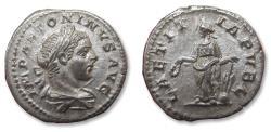 Ancient Coins - AR Denarius, Elagabalus, Rome mint 219-220 A.D. - LAETITIA PVBL, Laetitia standing left -