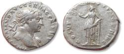 Ancient Coins - AR Denarius, Trajan / Trajanus. Rome 108-110 A.D. - COS V P P SPQR OPTIMO PRINC, Felicitas standing left -