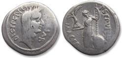 Ancient Coins - AR denarius Julius Caesar and P. Sepullius Macer, February 44 B.C. -- lifetime issue, rare --