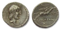 Ancient Coins - AR Denarius, L. Calpurnius Piso Frugi, Rome 90 B.C. - beautiful obverse portrait of Apollo -