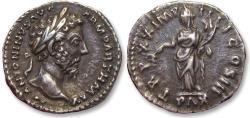 Ancient Coins - AR denarius Marcus Aurelius. Rome mint 166 A.D. - high quality coin with wonderful dark toning -