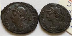 Ancient Coins - Group of 2 Æ Folles Constantine I 306-337 AD. City commemoratives - great quality, with original sales tickets, Alexandria & Antioch mints