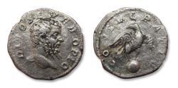 Ancient Coins - AR denarius DIVUS Septimius Severus, Rome mint after 211 A.D. - CONSECRATIO, Eagle on globe reverse -