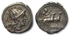 Ancient Coins - AR denarius C. Maianius, Rome 153 B.C. -- beautiful strike --