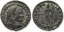 Ancient Coins - AE 28 mm silvered follis Galerius Valerius Maximianus, Heraclea mint 297-298 A.D. -- beauty --