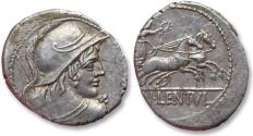 Ancient Coins - AR Denarius, Cn. Cornelius Lentulus Clodianus, Rome 88 B.C. - exceptionally well struck for the type -