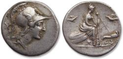 Ancient Coins - AR denarius anonymous issue, Rome 115-114 B.C.