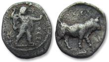 Ancient Coins - Lucania, Poseidonia. AR diobol - quite nice for this small Greek fraction - 445-420 B.C. - with collector ticket -