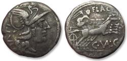 Ancient Coins - AR denarius C. Valerius C.f. Flaccus, Rome 140 B.C. -- with mark of value XVI instead of X --