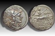 Ancient Coins - AR denarius C. Curiatius Trigeminus, Rome 142 B.C.  - beauty with signs of clashed dies on obverse -