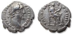 Ancient Coins - AR denarius Antoninus Pius, Rome mint 155-156 A.D. - TR POT XIX COS IIII -
