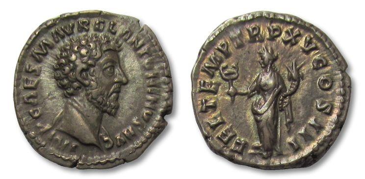 Ancient Coins - AR denarius Marcus Aurelius, Rome 161 A.D. -- gold irridescent toning on reverse --