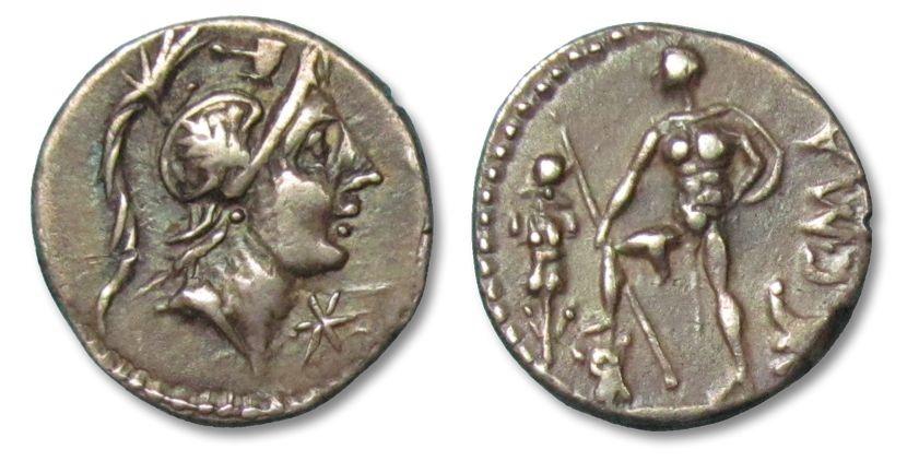 Ancient Coins - AR denarius C. Publicius Malleolus, Rome 96 B.C. --beautiful full strike for the type--