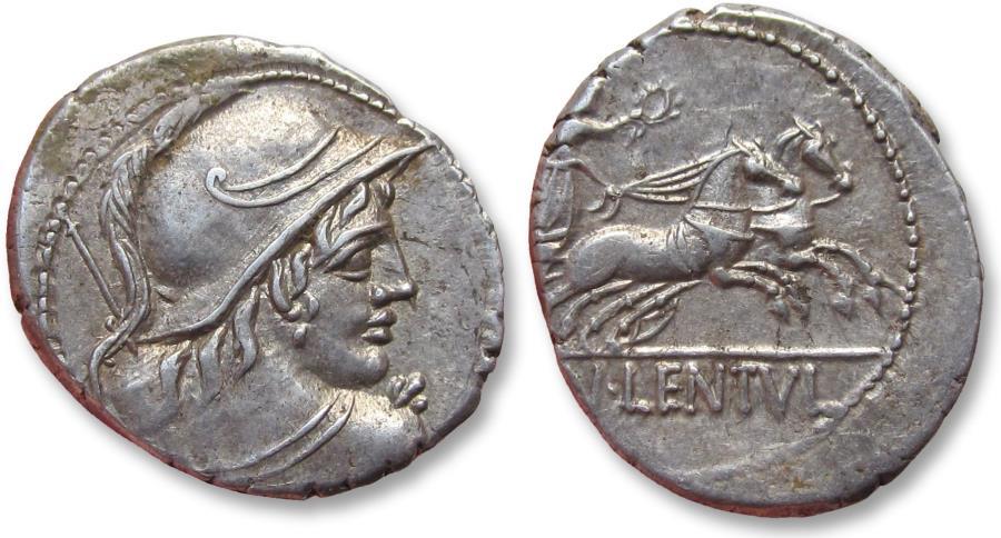 Ancient Coins - AR Denarius, Cn. Cornelius Lentulus Clodianus, Rome 88 B.C. - exceptionally well struck for the type -