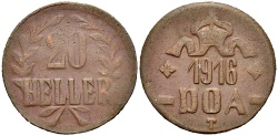 World Coins - GERMAN EAST AFRICA 20 Heller 1916