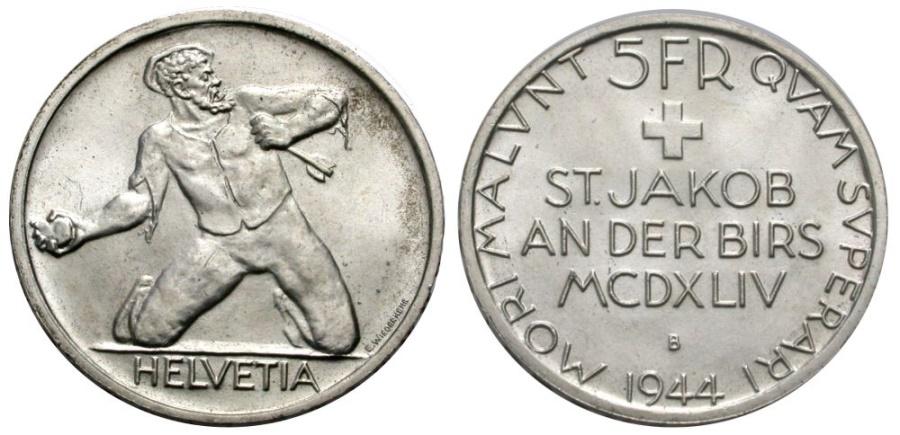 World Coins - SWITZERLAND 5 Fr. 1944 BATTLE OF ST. JAKOB