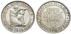 World Coins - SHOOTING FESTIVAL LUZERN 5 Fr. 1939