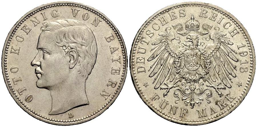 World Coins - BAYERN 5 Mark 1913