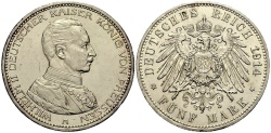 World Coins - PREUSSEN 5 Mark 1914