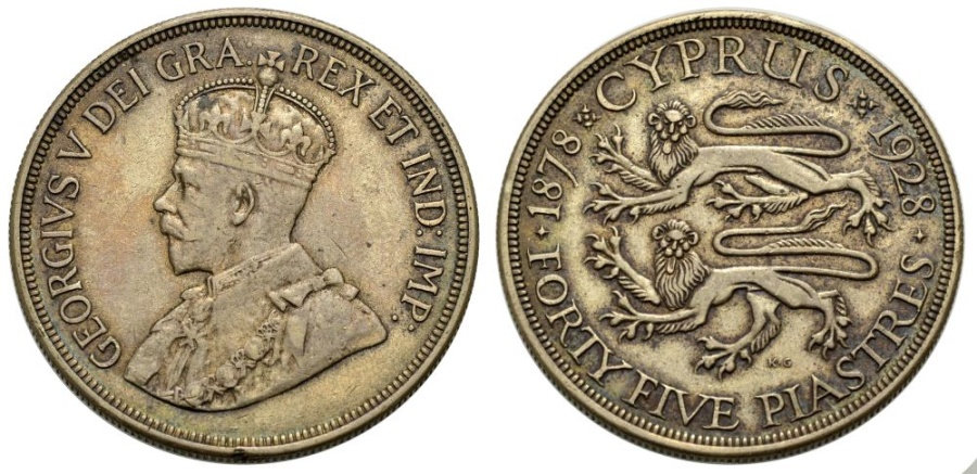 World Coins - CYPRUS, 45 Piastres 1928