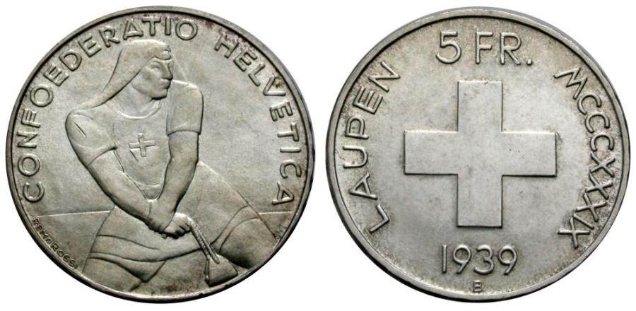 World Coins - SWITZERLAND 5 Fr. 1939 BATTLE OF LAUPEN