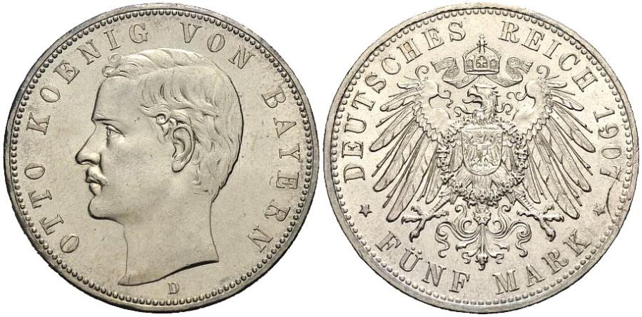 World Coins - BAYERN 5 Mark 1907