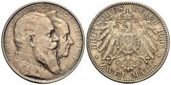 World Coins - BADEN 2 Mark 1906 Golden Wedding