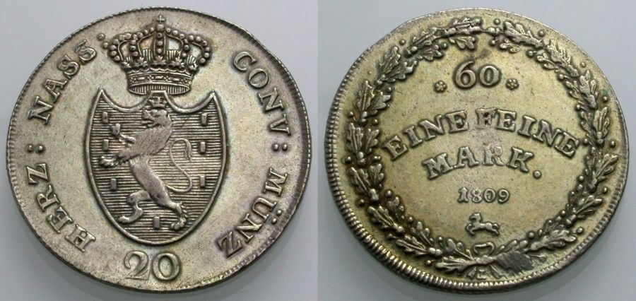 World Coins - NASSAU 20 Kreuzer 1809