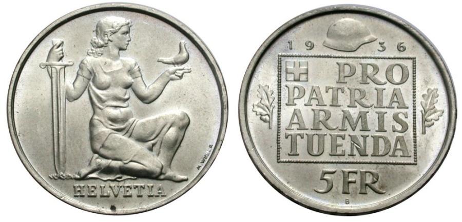 World Coins - SWITZERLAND 5 Fr. 1936 WAR BONDS
