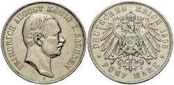 World Coins - SACHSEN 5 Mark 1908